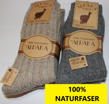Wollsocken mit Alpaka 2 Paar